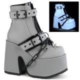 Gray Vegan 13 cm CAMEL-205 demonia ankle boots platform