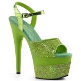 Green 18 cm ADORE-709-2G glitter platform sandals shoes