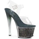 Green 18 cm SKY-308G-T glitter platform sandals shoes