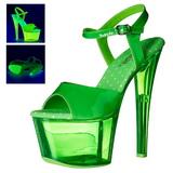 Green 18 cm SKY-309UVT Neon Acrylic Platform High Heeled Sandal