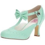 Green 7,5 cm retro vintage FLAPPER-11 Pinup Pumps Shoes with Low Heels