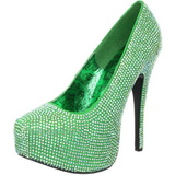Green Rhinestone 14,5 cm Burlesque TEEZE-06R Platform Pumps Women Shoes