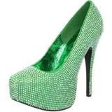 Green Rhinestone 14,5 cm TEEZE-06R Platform Pumps Women Shoes
