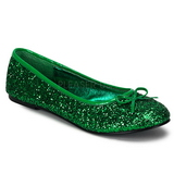 Green STAR-16G glitter flat ballerinas womens shoes