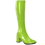 Green Shiny 8,5 cm GOGO-300 High Heeled Womens Boots for Men