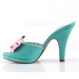 Grön 10 cm SIREN-03 Pinup mules skor med fluga