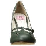 Grön 10 cm SMITTEN-20 Pinup pumps skor med låg klack
