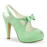 Grön 11,5 cm BETTIE-03 Pinup pumps skor med dold platå