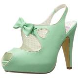 Grön 11,5 cm retro vintage BETTIE-03 Pinup pumps skor med dold platå