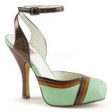 Grön 11,5 cm retro vintage CUTIEPIE-01 Pinup sandaletter med dold platå
