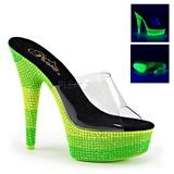 Grön 15 cm DELIGHT-601UVS neon platå tofflor dam med klack