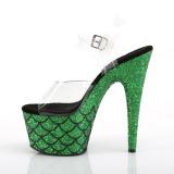 Grön 18 cm ADORE-708MSLG glittriga platå sandaler skor