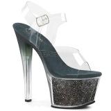 Grön 18 cm SKY-308G-T glittriga platå sandaler skor