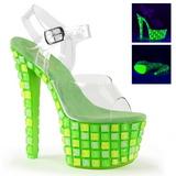 Grön 18 cm SKY-308UVTL Neon platå sandaler med klack