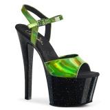 Grön 18 cm SKY-309HG Hologram platå klackar skor