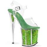Grön 20 cm FLAMINGO-808GF glitter platå klackar skor
