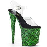 Grön 20 cm FLAMINGO-808MSLG glitter platå high heels