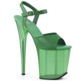 Grön 20 cm FLAMINGO-809T Akryl platå klackar skor
