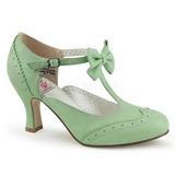 Grön 7,5 cm retro vintage FLAPPER-11 Pinup pumps skor med låg klack