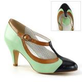 Grön 8 cm retro vintage PEACH-03 Pinup pumps skor med låg klack
