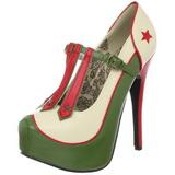 Grön Beige 14,5 cm Burlesque TEEZE-43 damskor med hög klack