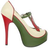 Grön Beige 14,5 cm TEEZE-43 damskor med hög klack