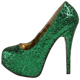 Grön Glitter 14,5 cm BORDELLO TEEZE-06G Höga Platåpumps