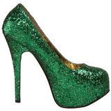 Grön Glitter 14,5 cm Burlesque BORDELLO TEEZE-06G Höga Platåpumps