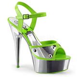 Grön Neon 15 cm DELIGHT-609NC Högklackade Sandaler Krom Platå