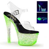 Grön Neon 18 cm CRYSTALIZE-308PS Platå högklackade skor