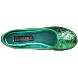 Grön STAR-16G glitter ballerinaskor med platta klack