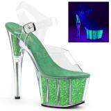 Grön glittriga 18 cm Pleaser ADORE-708UVG pole dance skor