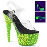Grön neon 18 cm Pleaser ADORE-708NSK pole dance skor