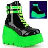 Grön neon 5 cm SHAKER-52 cyberpunk platå stövletter