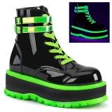 Grön neon 5 cm SLACKER-52 cyberpunk platå stövletter