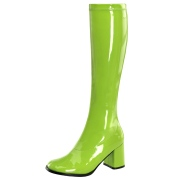 Gröna lackstövlar blockklack 7,5 cm - 70 tal hippie boots disco gogo knähöga stövlar