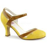 Gul 7,5 cm FLAPPER-27 Pinup pumps skor med låg klack