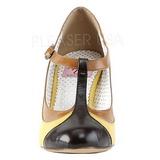 Gul 8 cm retro vintage PEACH-03 Pinup pumps skor med låg klack