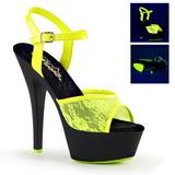 Gul spets tyg 15 cm Pleaser KISS-209ML Högklackade Sandaler Neon Platå