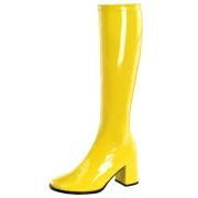 Gula lackstövlar blockklack 7,5 cm - 70 tal hippie boots disco gogo knähöga stövlar