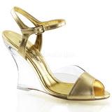Guld 10,5 cm LOVELY-442 Wedge Sandaletter med Kilklack