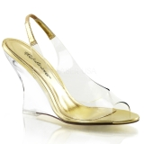 Guld 10,5 cm LOVELY-450 Wedge Sandaletter med Kilklack