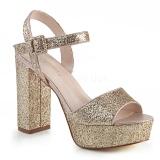 Guld 11,5 cm CELESTE-09 glitter sandaler med blockklack
