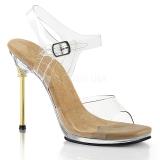 Guld 11,5 cm CHIC-08 Sandaletter med stilettklack
