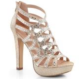 Guld 11,5 cm Pleaser SELENE-24 Högklackade sandaletter med platå