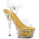 Guld 15 cm KISS-208GF glittriga platå sandaler skor