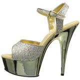 Guld 15 cm Pleaser DELIGHT-609G Krom Högklackade Sandaletter