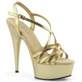 Guld 15 cm Pleaser DELIGHT-613 Högklackade sandaletter med platå