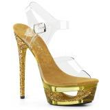 Guld 16,5 cm ECLIPSE-608GT Sandaletter med stilettklack