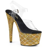 Guld 18 cm ADORE-708MSLG glittriga platå sandaler skor